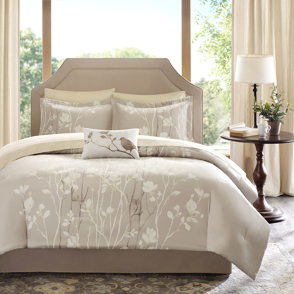 sets and taupe ivory fascinating lodge set ecrins curtain king queen comforter