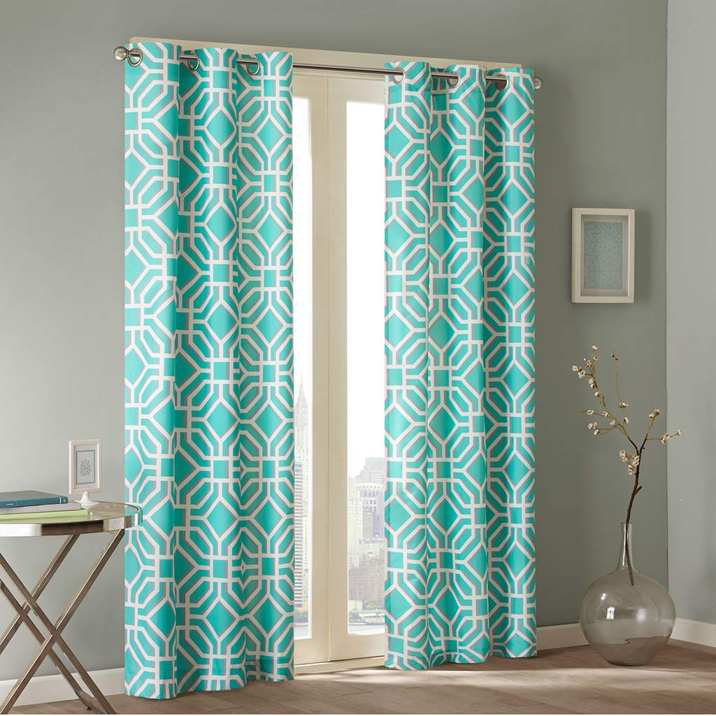 intelligent design maci window curtain - Blue And White Window Curtains