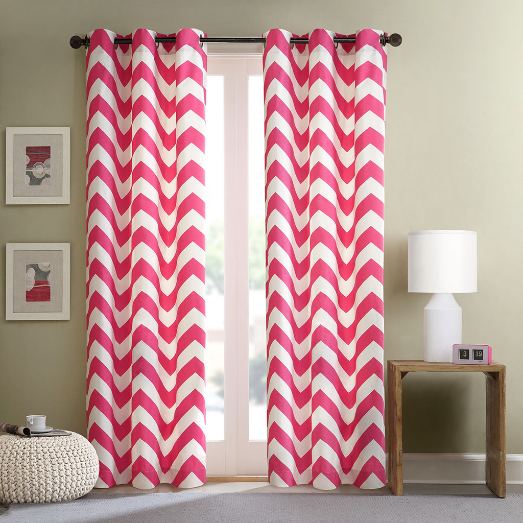 Pink chevron curtains - Intelligent Design Libra Chevron Window Curtain Pair