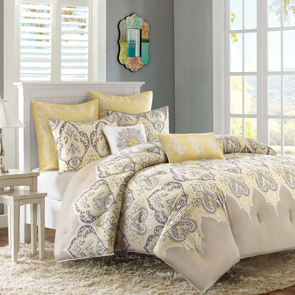 madison park nisha comforter set ebay. Black Bedroom Furniture Sets. Home Design Ideas