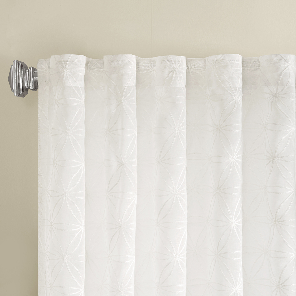 Madison Park Gemma Sheer Embroidered Window Curtain