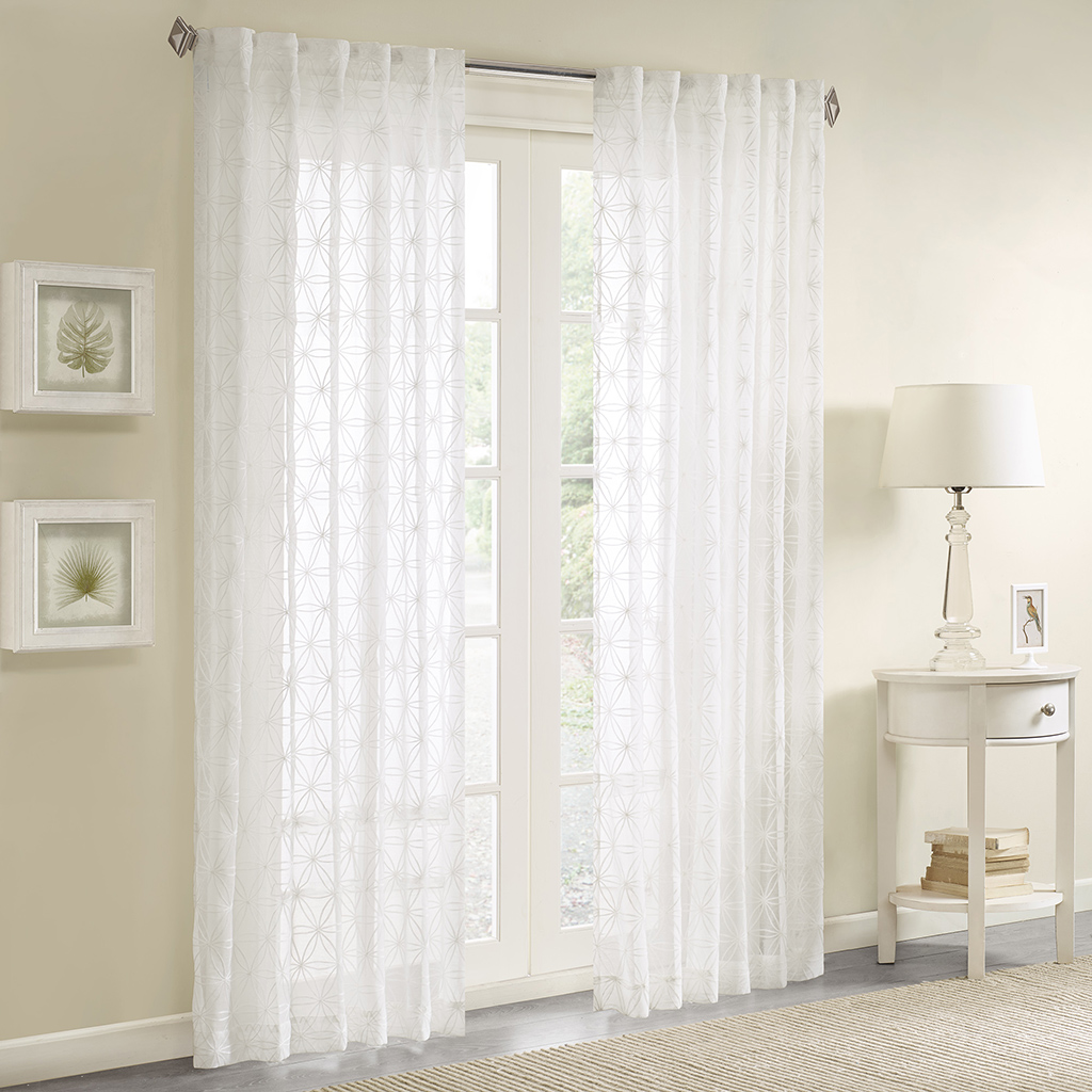 Madison Park Gemma Sheer Embroidered Window Curtain Ebay