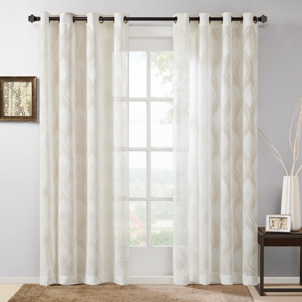 Madison Park Adele Sheer Ogee Jacquard Window Curtain Ebay