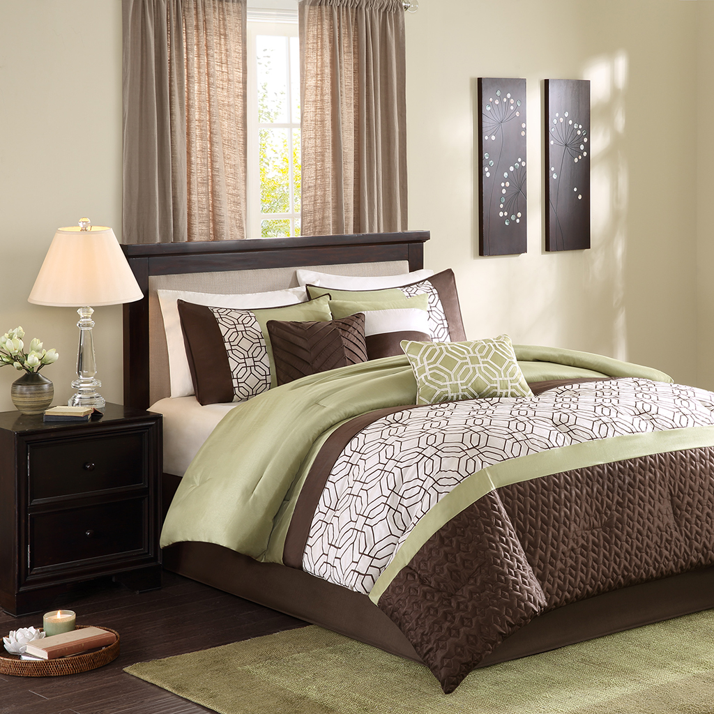 Outrageous Green And Brown Bedroom: Madison Park Briggs 7 Piece Comforter Set
