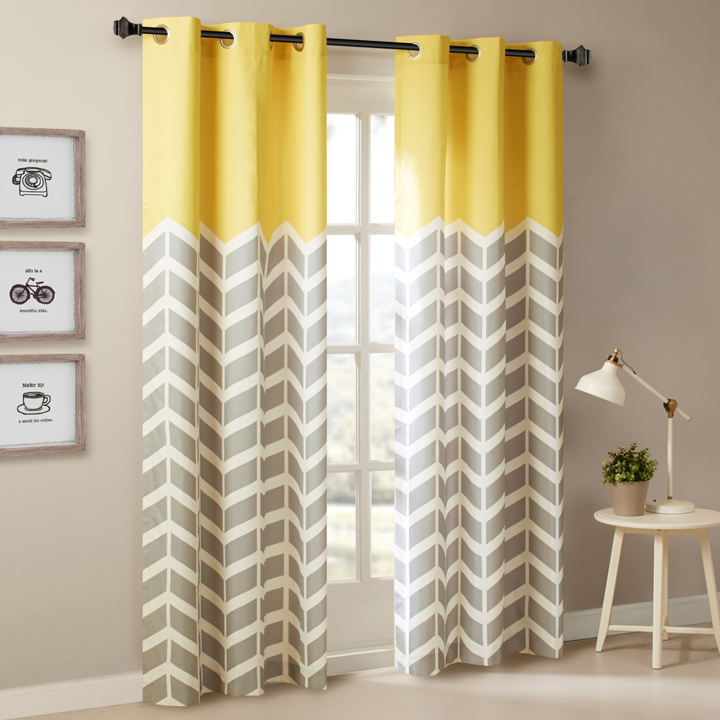 Yellow and grey chevron curtains - Intelligent Design Alex Chevron Printed Grommet Top Panel