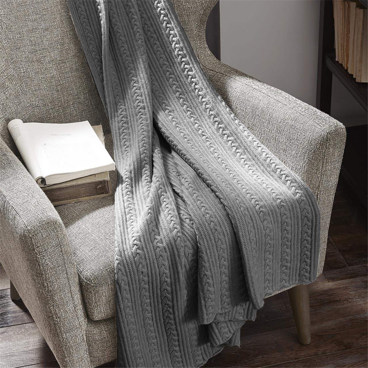 Madison Park Signature Cashmere Blend Cable Knit Throw eBay