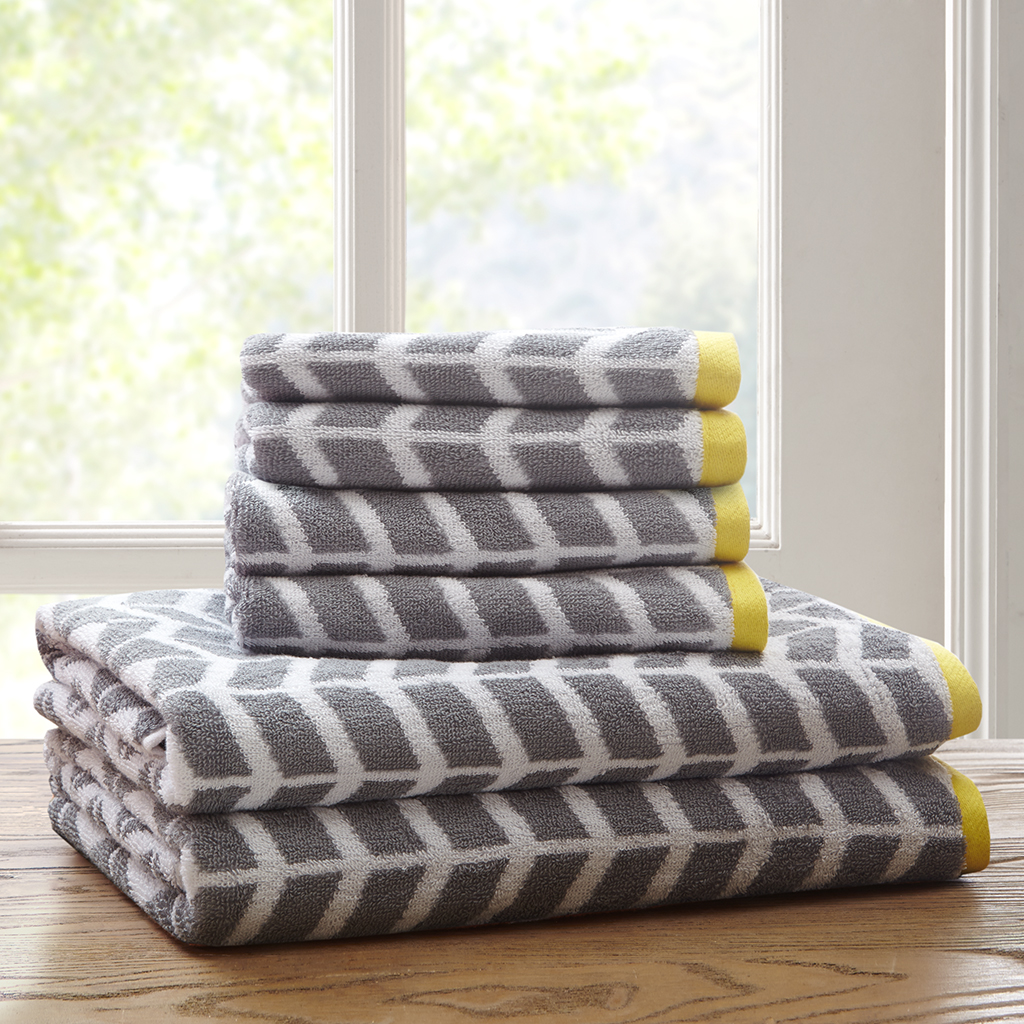 Bath Towel Sets Black And White: Intelligent Design Nadia 6 Piece Cotton Jacquard Towel Set