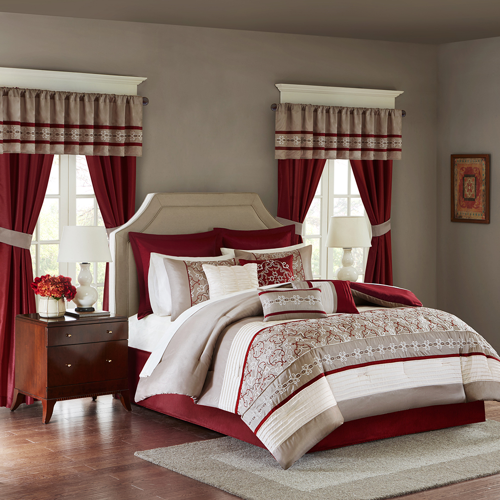 sheet curtain pieces in overstock bedding a paisley shipping free park jacquard essentials red cadence included product window today set bath bag room madison