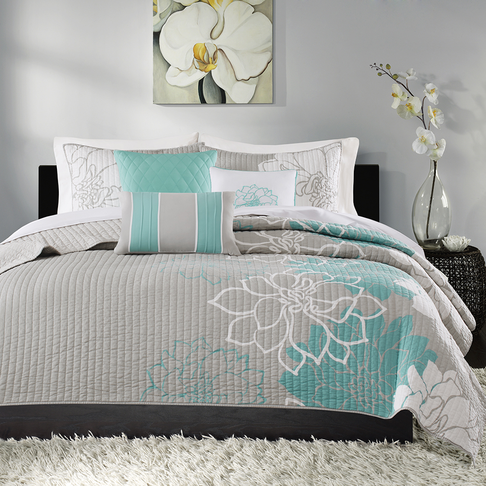 Madison Park Lola 6 Piece Quilted Coverlet Set Ebay