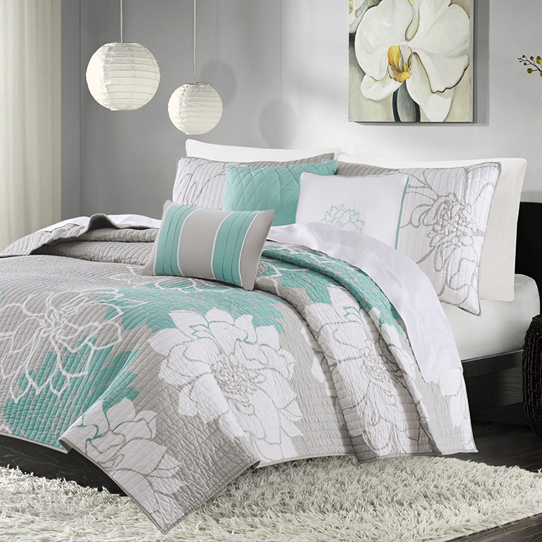 Madison Park Lola 6 Piece Quilted Coverlet Set