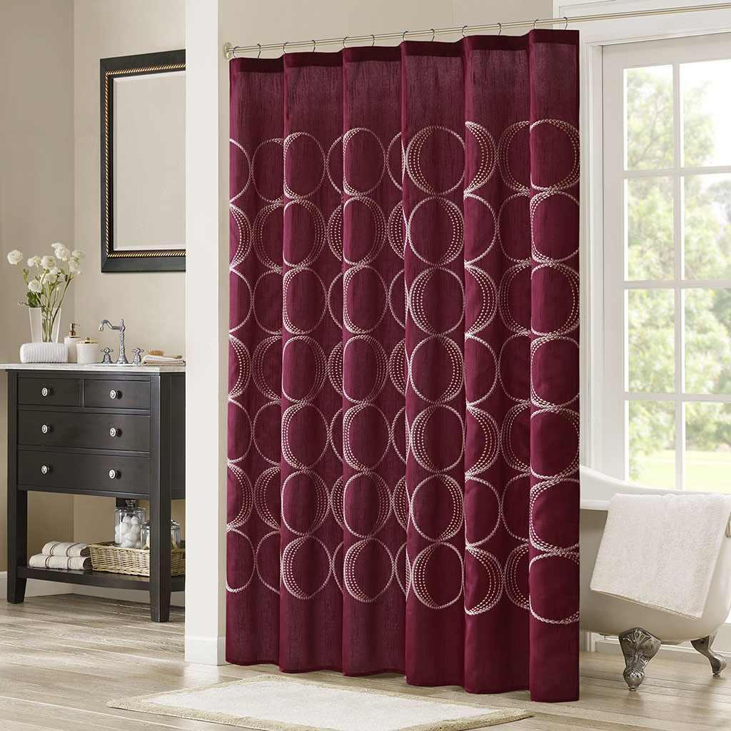 Madison Park Tamia Embroidered Shower Curtain