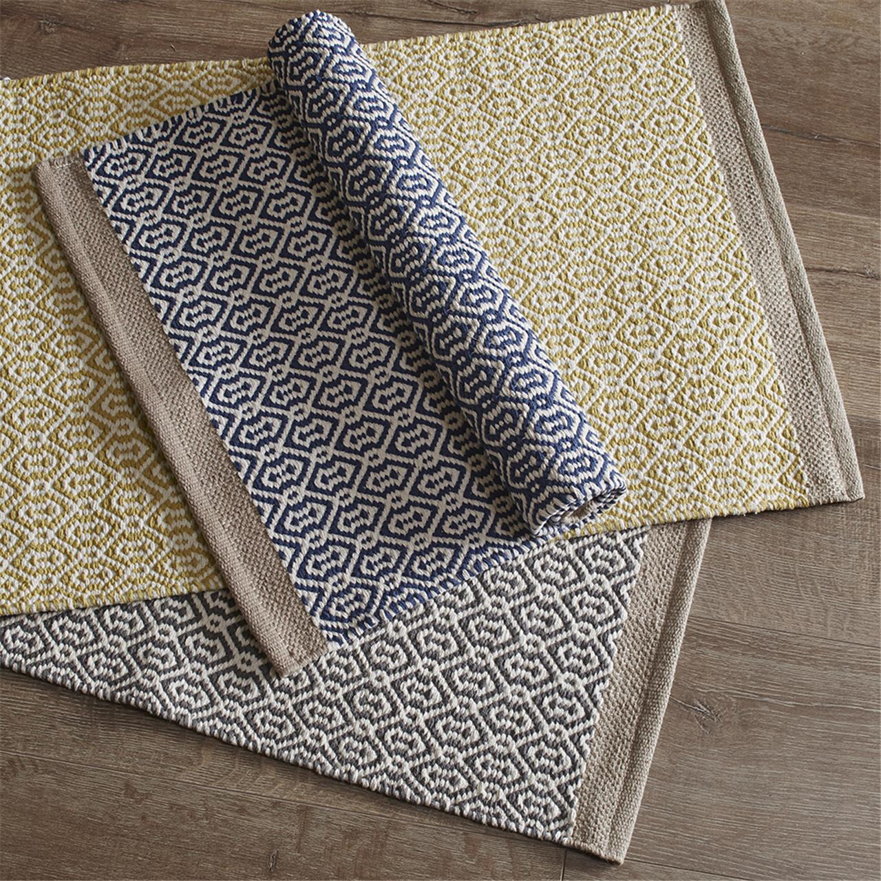 Grey And Yellow Bath Mats