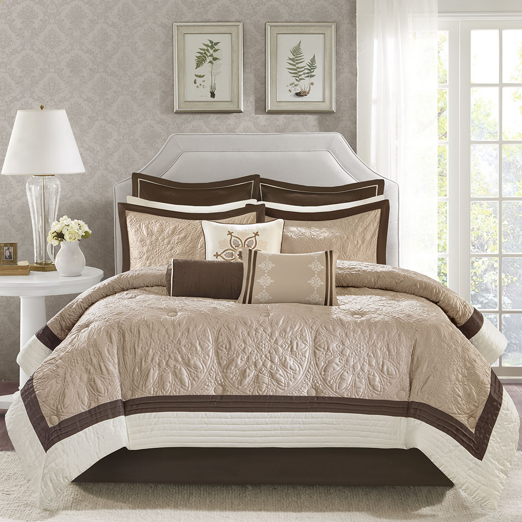 Madison Park Juliana 9 Piece Charmeuse Comforter Set Ebay