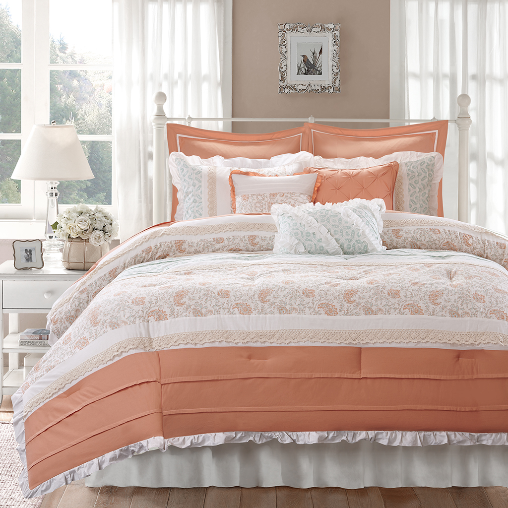 canopy side duvet coral in bed and color crane bedding pacific glam large the nova products inspiration decor cover bedroom