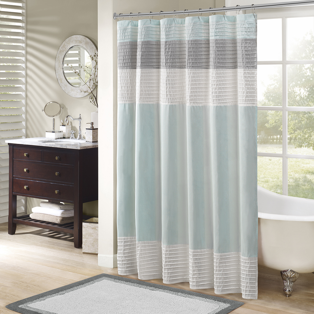 blue curtains tones traditional curtain two shower and modern white stylish spa