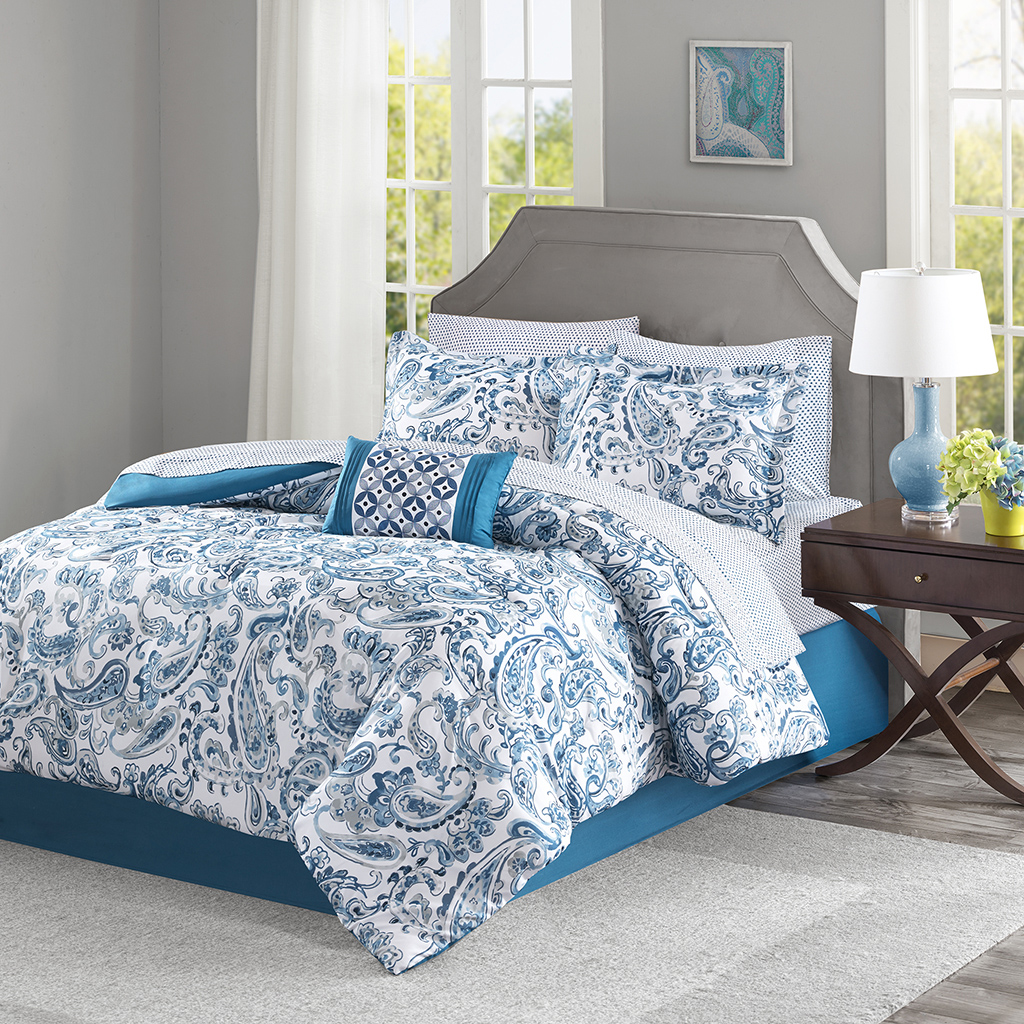 Madison Park Essentials Lila Complete Bed And Sheet Set Ebay
