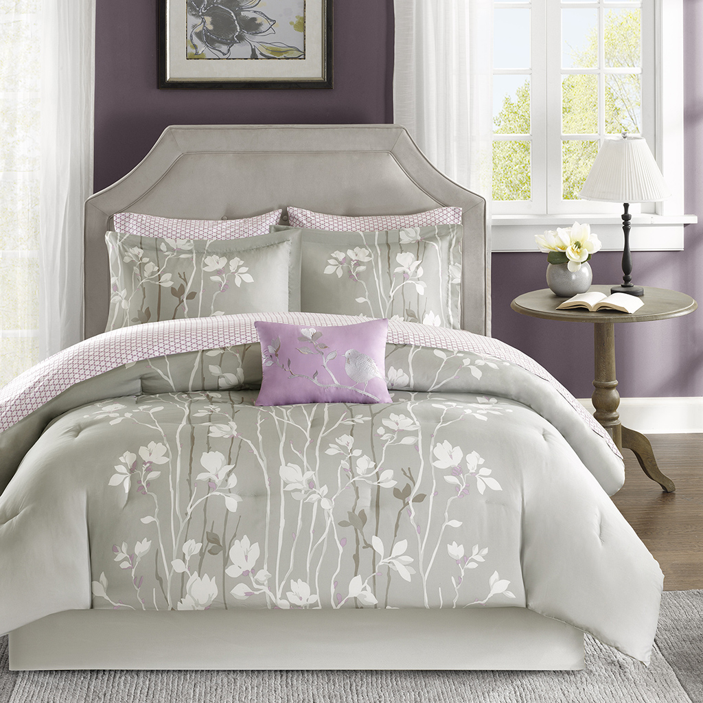 Light purple and grey bedding - Madison Park Essentials Vaughn Complete Bed And Sheet