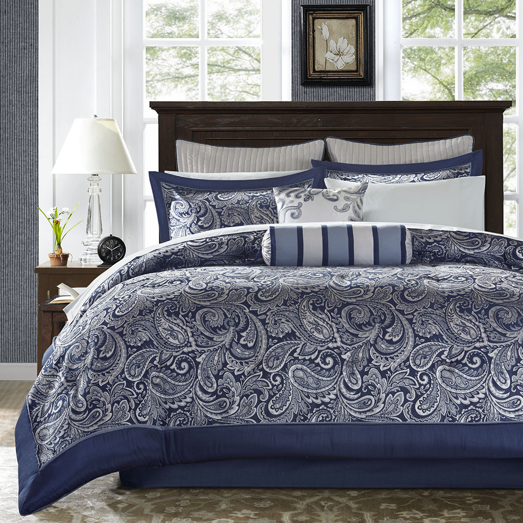 Madison park aubrey 12 piece complete bed set ebay - Complete bedroom sets with mattress ...